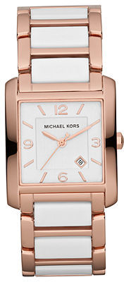 Michael Kors Watch, Women's Frenchy White Acetate and Rose Gold-Tone Stainless Steel Bracelet 29x26mm MK4274