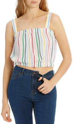 Miss Shop Hot Price Elastic Waist Top - Rainbow Stripe