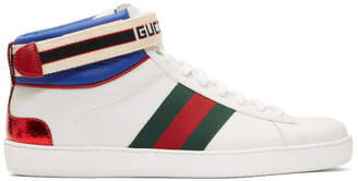 Gucci White Striped New Ace High-Top Sneakers