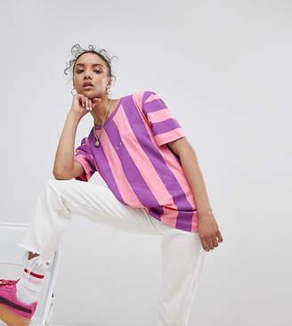 Puma Exclusive To Asos T-Shirt In Bold Pink And Purple Stripe