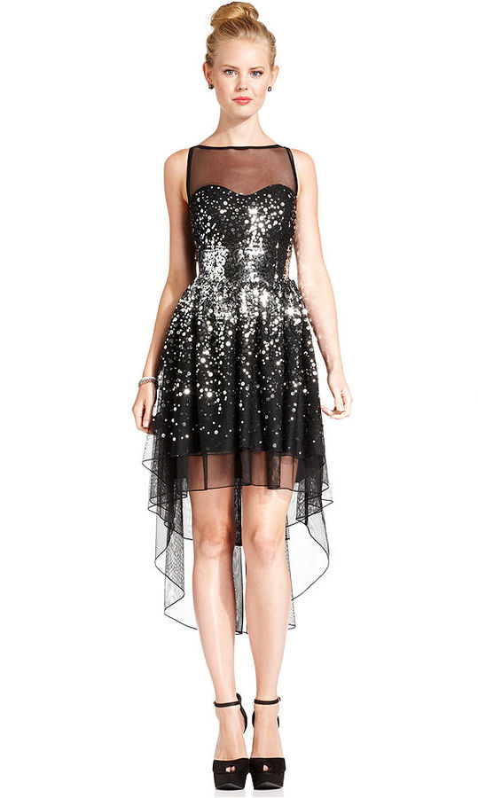 Ruby Rox Juniors Dress, Sleeveless Sequin High-Low Illusion