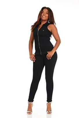 V.I.P. JEANS Women's Plus Size Skinny Sleeveless Zip Up Denim Jumpsuit Romper