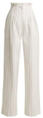 Rebecca Taylor Striped High Rise Wide Leg Trousers - Womens - White Stripe
