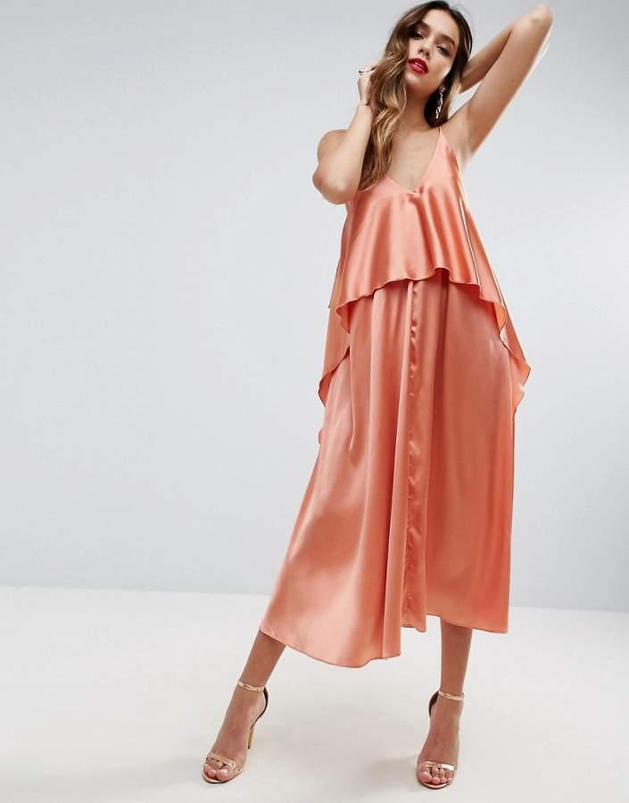 AsosASOS Tiered Crop Top Midi Dress