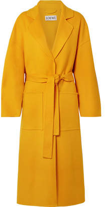 Loewe Oversized Belted Wool And Cashmere-blend Coat - Saffron