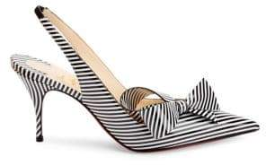 Christian Louboutin Women's Clare Bow 80 Stripe Patent Leather Slingback Pumps - Black White - Size 36.5 (6.5)