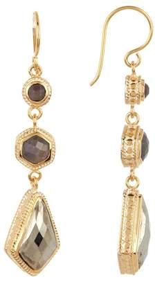 Anna Beck 18K Gold Plated Grey Sapphire & Pyrite Triple Drop Earrings