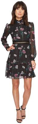 Donna Morgan Printed Chiffon Fit and Flare Dress w/ Ruffle Neck and Stitching Detail Women's Dress