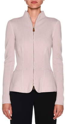 Giorgio Armani Cashmere Fitted Funnel-Neck Zip Front Jacket