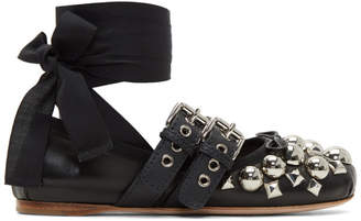 Miu Miu Black Studded Double Buckle Ballerina Flats