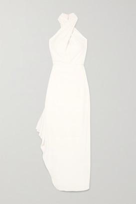 Halston Draped Crepe Halterneck Gown - White