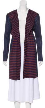 Pleats Please Issey Miyake Striped Plissé Cardigan