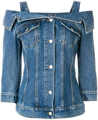 Alexander McQueen cold shoulder denim jacket