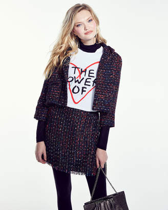 Line And Dot Anya Multicolor Tweed & Sequin Cropped Jacket with Hood