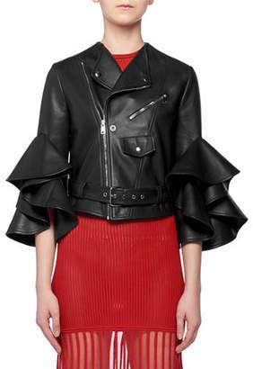 Alexander McQueen Ruffle Elbow-Sleeve Fitted Cropped Lambskin Leather Biker Jacket
