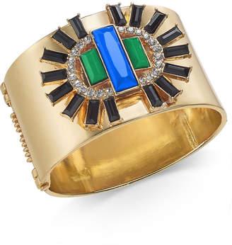 Thalia Sodi Gold-Tone Crystal & Stone Wide Bangle Bracelet, Created for Macy's