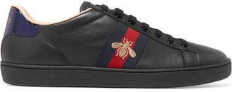 Gucci Ace Watersnake-trimmed Embroidered Leather Sneakers - Black
