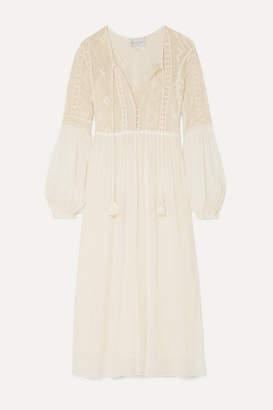 Forte Forte Crocheted Cotton And Silk-blend Crepon Midi Dress - Cream