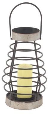 DecMode Decmode 14 Inch Modern Metal Pear-Shaped Pillar Candle Lantern, Silver