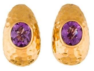 John Hardy Hammered 18K Amethyst Earrings