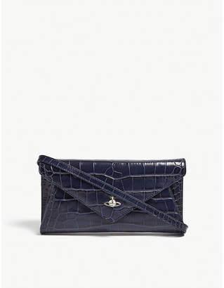 Vivienne Westwood Navy Blue Modern Reptile-Effect Leather Envelope Clutch Bag