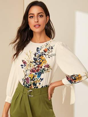 Shein Floral Print Puff Sleeve Tie Cuff Blouse