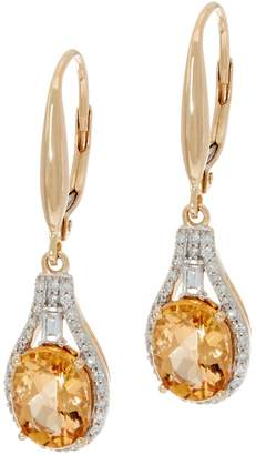 Imperial Topaz & Baguette Diamond Drop Earrings, 14K 2.50 cttw