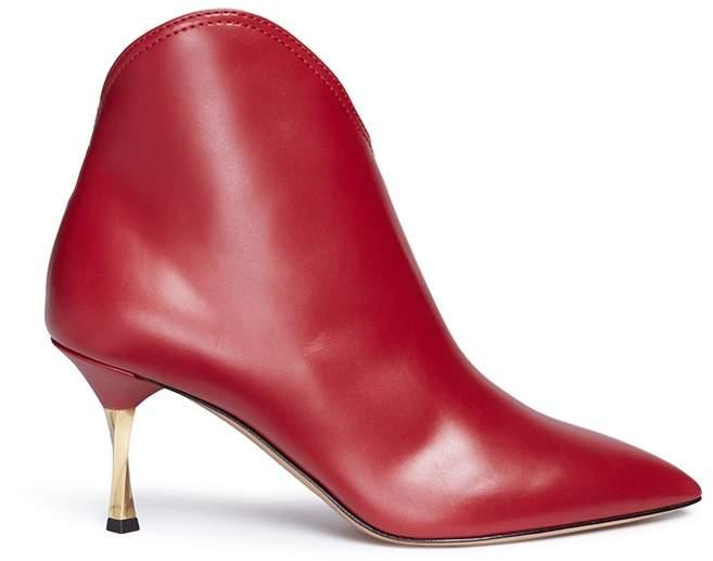 Valentino Screw heel asymmetric shaft leather boots
