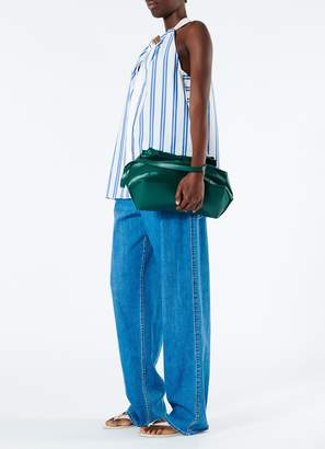 Tibi Vivian Stripe Tie Neck Sleeveless Top