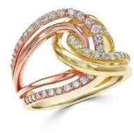 Effy 14K Rose Gold and Gold Diamond Ring