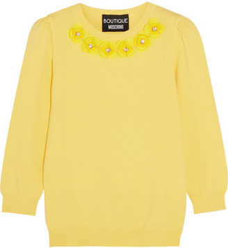 Boutique Moschino - Crystal-embellished Appliquéd Jersey Sweater - Yellow $675 thestylecure.com