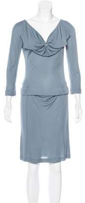 John Galliano Long Sleeve Draped Dress w/ Tags