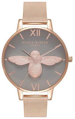 Olivia Burton 3D Bee Rose Gold Mesh Bracelet Watch