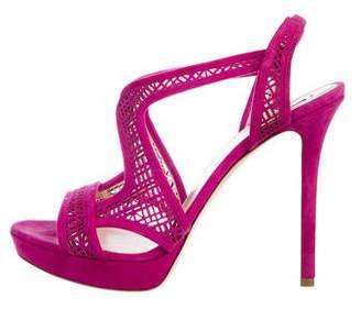 Giorgio Armani Suede Laser Cut Sandals