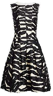 Oscar de la Renta Women's Sleeveless Zebra A-Line Cocktail Dress