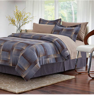 Brown & Grey Shadow Box Brown 8-Piece Bed-In-Bag, Queen Bedding