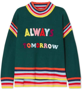Mira Mikati Oversized Embroidered Merino Wool Sweater - Dark green