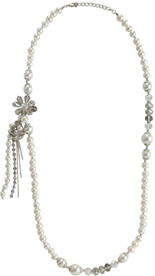Arden B Asymmetrical Tassel Pearl Necklace