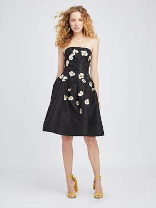 Oscar de la Renta Floral Embroidered Silk-Faille Cocktail Dress