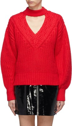 Self-Portrait Cutout V-neck cotton-wool mix knit sweater