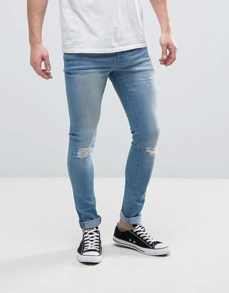 Hoxton Denim Super Skinny Mid Wash Jeans with Ripped Knee