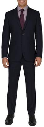 Kenneth Cole Reaction Techni-Cole Navy Solid Two Button Notch Lapel Slim Fit Suit