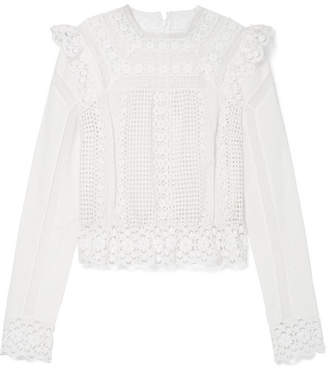 Zimmermann Laelia Lace-trimmed Broderie Anglaise Cotton Top - Cream