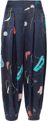 Roksanda Pipa Printed Silk Tapered Pants - Navy