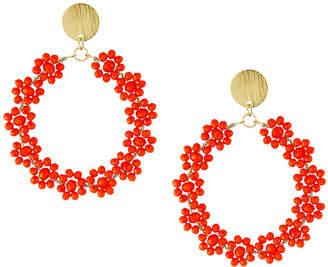 Panacea Crystal Flower Hoop-Drop Earrings