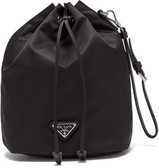 Prada Leather Trimmed Drawstring Nylon Wash Bag - Womens - Black