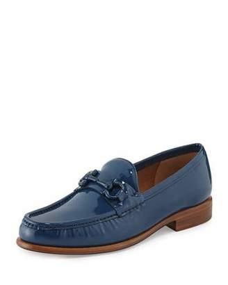 Salvatore Ferragamo Mason Patent Leather Loafer, Pacific Blue $550 thestylecure.com