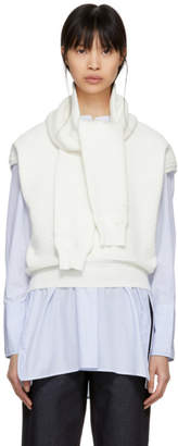 Carven White Oversized Wrap Sweater