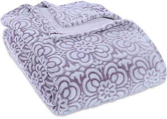 Berkshire VelvetLoft Tipped Floral Plush King Blanket Bedding