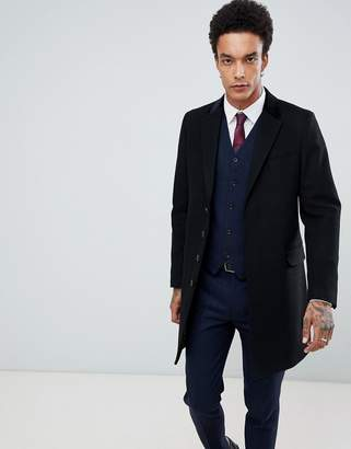 Gianni Feraud Premium Wood Blend Single Breasted Classic Overcoat With Velvet Collar